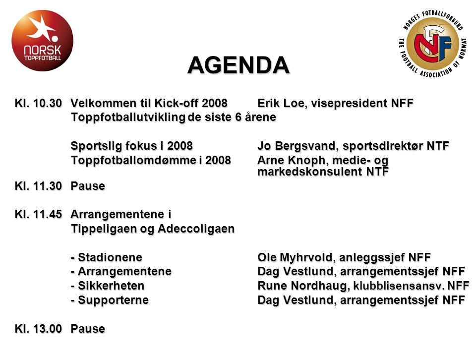 AGENDA Kl. 10.30Velkommen til Kick-off 2008 Erik Loe, visepresident NFF Toppfotballutvikling de siste 6 årene Sportslig fokus i 2008 Jo Bergsvand, spo