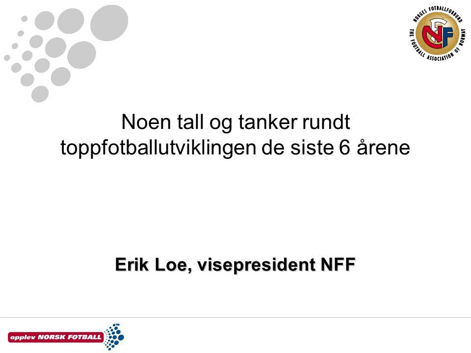 Noen tall og tanker rundt toppfotballutviklingen de siste 6 årene Erik Loe, visepresident NFF