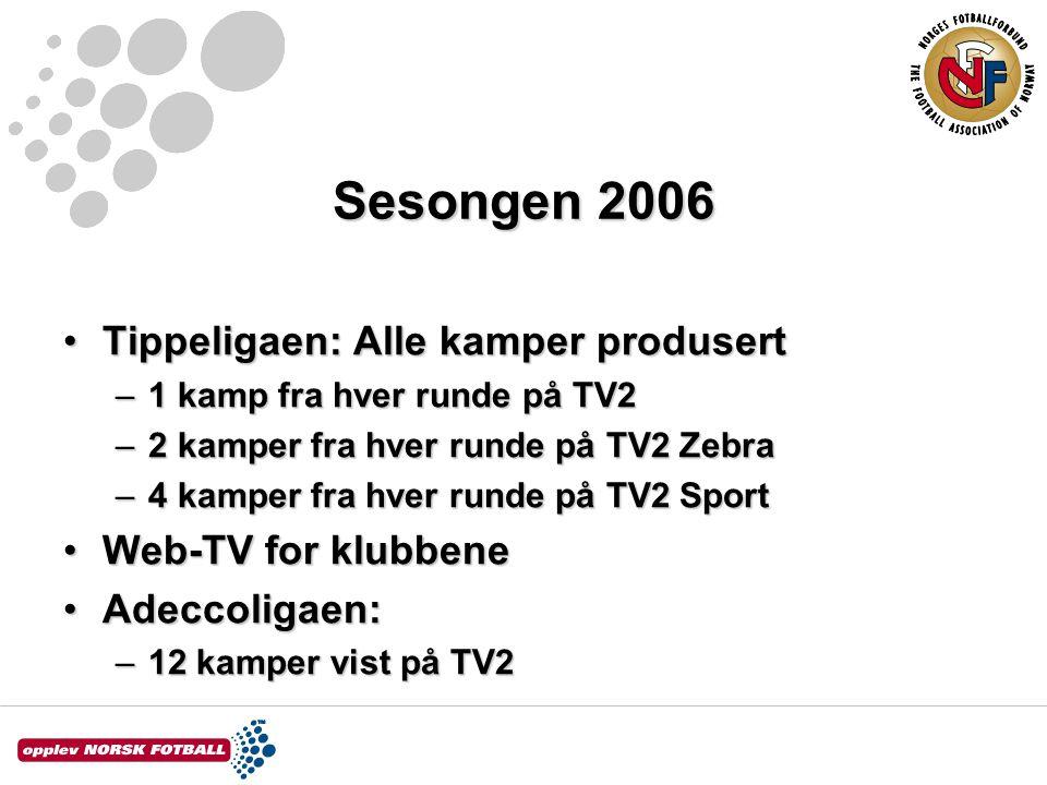 Sesongen 2006 Tippeligaen: Alle kamper produsertTippeligaen: Alle kamper produsert –1 kamp fra hver runde på TV2 –2 kamper fra hver runde på TV2 Zebra