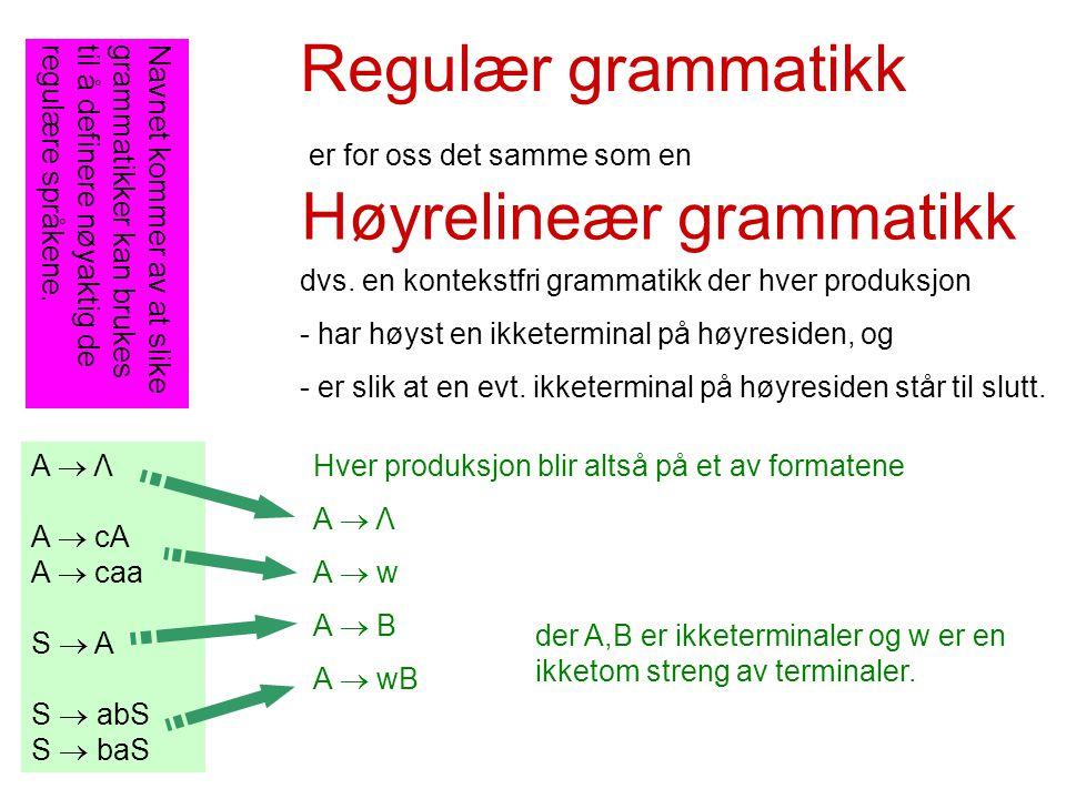 Høyrelineær grammatikk A  Λ A  cA A  caa S  A S  abS S  baS dvs.