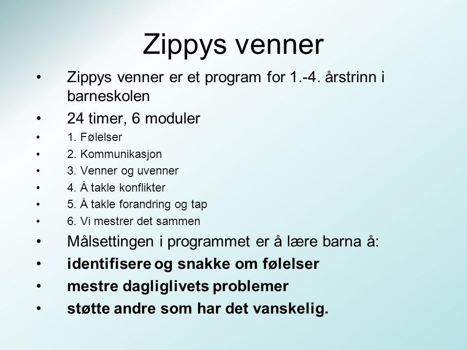 Zippys venner Zippys venner er et program for 1.-4. årstrinn i barneskolen 24 timer, 6 moduler 1. Følelser 2. Kommunikasjon 3. Venner og uvenner 4. Å