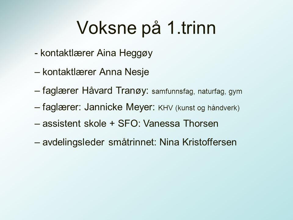 Voksne på 1.trinn - kontaktlærer Aina Heggøy – kontaktlærer Anna Nesje – faglærer Håvard Tranøy: samfunnsfag, naturfag, gym – faglærer: Jannicke Meyer