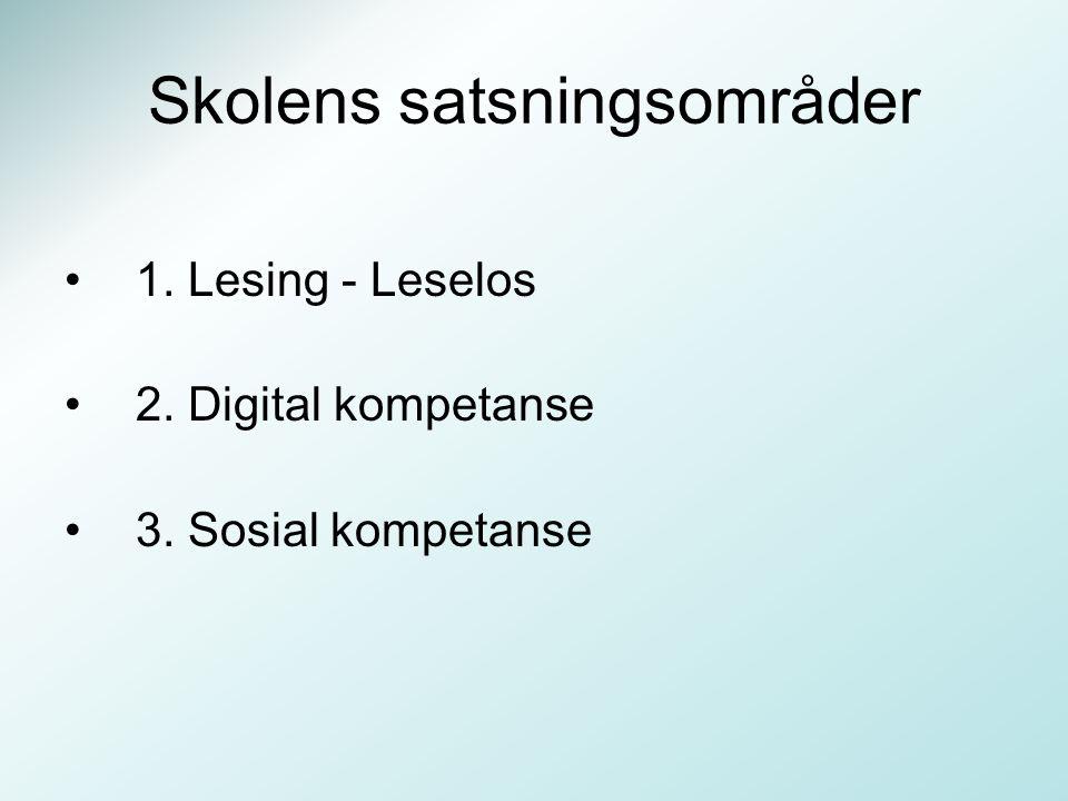 Skolens satsningsområder 1. Lesing - Leselos 2. Digital kompetanse 3. Sosial kompetanse