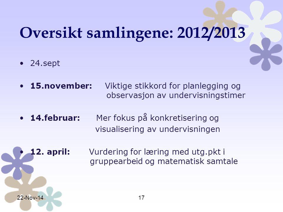 Oversikt samlingene: 2012/2013 24.sept 15.november: Viktige stikkord for planlegging og observasjon av undervisningstimer 14.februar: Mer fokus på kon