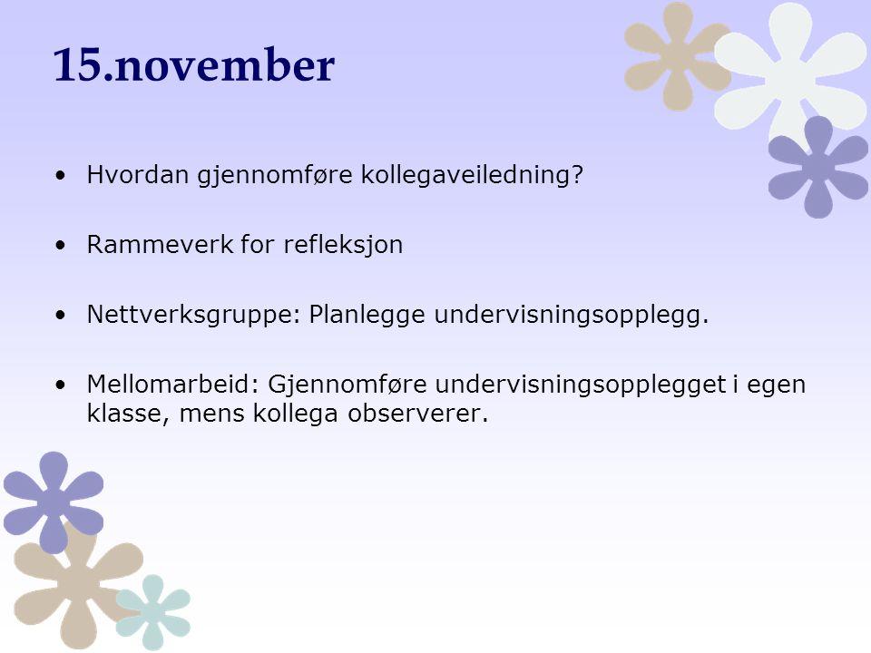 15.november Hvordan gjennomføre kollegaveiledning? Rammeverk for refleksjon Nettverksgruppe: Planlegge undervisningsopplegg. Mellomarbeid: Gjennomføre