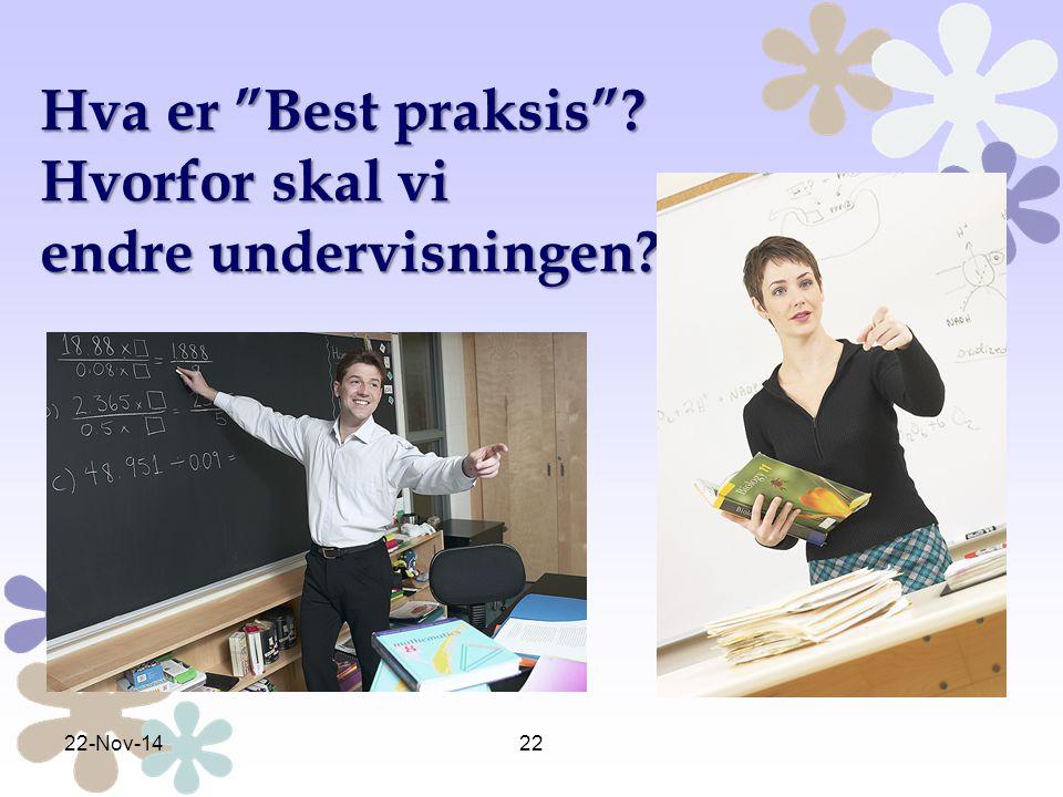 """Hva er """"Best praksis""""? Hvorfor skal vi endre undervisningen? 22-Nov-1422"""