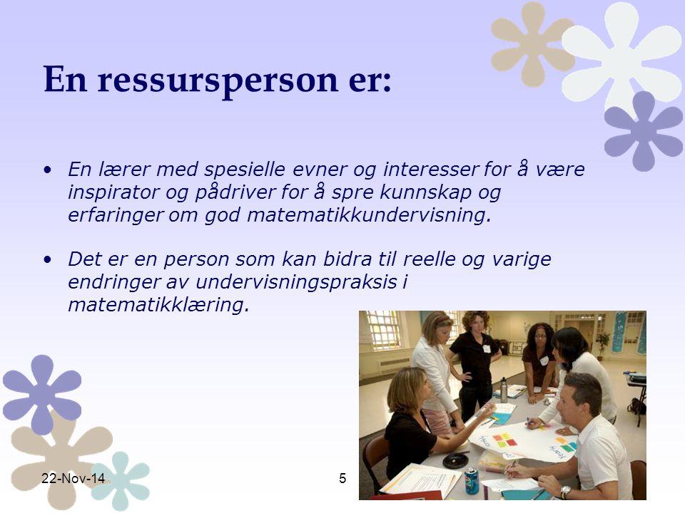En ressursperson er: En lærer med spesielle evner og interesser for å være inspirator og pådriver for å spre kunnskap og erfaringer om god matematikku