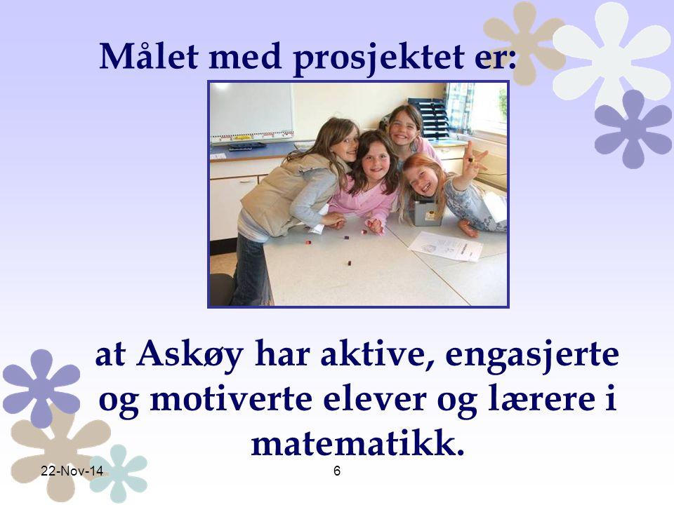 6 at Askøy har aktive, engasjerte og motiverte elever og lærere i matematikk. Målet med prosjektet er: