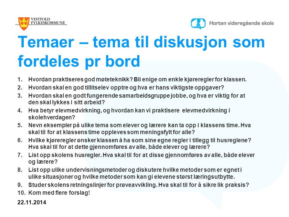 Temaer – tema til diskusjon som fordeles pr bord 1.Hvordan praktiseres god møteteknikk.