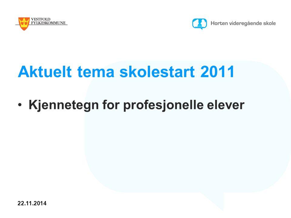 Aktuelt tema skolestart 2011 Kjennetegn for profesjonelle elever 22.11.2014