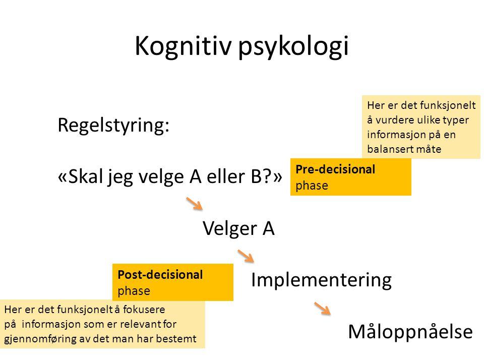 Kognitiv psykologi Regelstyring: «Skal jeg velge A eller B?» Velger A Implementering Måloppnåelse Pre-decisional phase Post-decisional phase Her er de