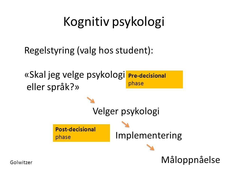 Kognitiv psykologi Regelstyring (valg hos student): «Skal jeg velge psykologi eller språk?» Velger psykologi Implementering Måloppnåelse Pre-decisiona
