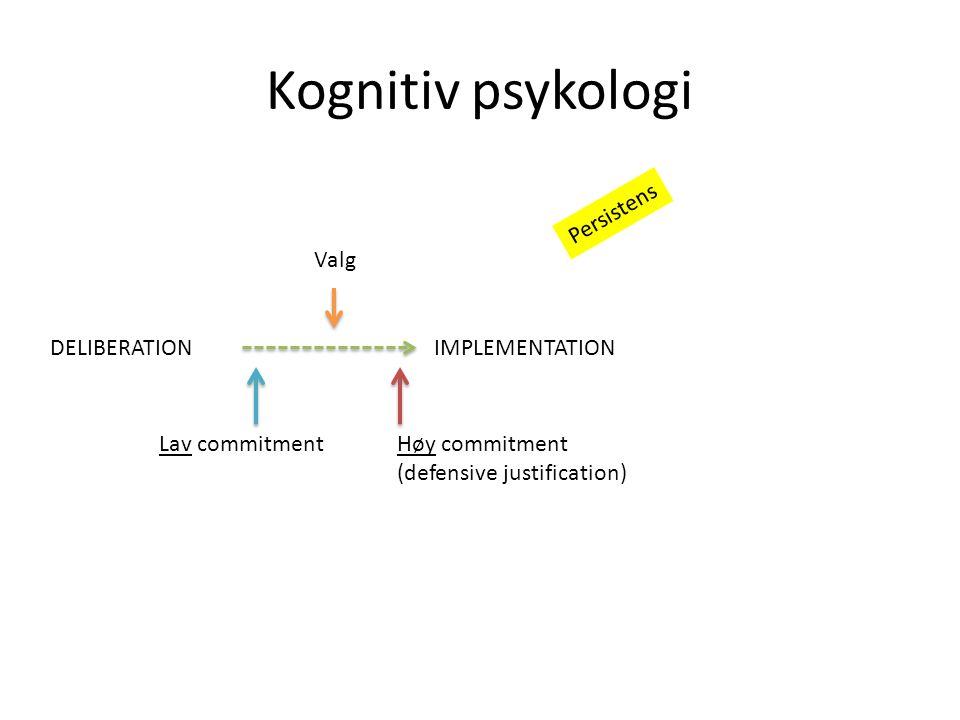 Kognitiv psykologi DELIBERATIONIMPLEMENTATION Valg Lav commitmentHøy commitment (defensive justification) Persistens