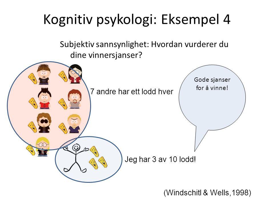 Kognitiv psykologi: Eksempel 4 (Windschitl & Wells,1998) Jeg har 3 av 10 lodd! Gode sjanser for å vinne! Subjektiv sannsynlighet: Hvordan vurderer du