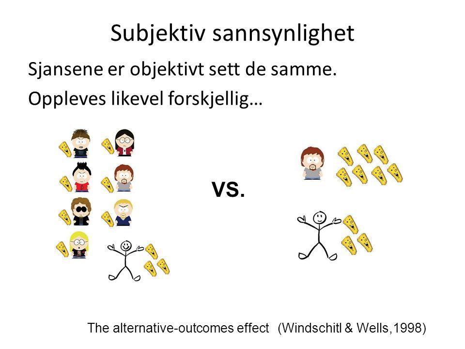 Subjektiv sannsynlighet (Windschitl & Wells,1998)The alternative-outcomes effect VS. Sjansene er objektivt sett de samme. Oppleves likevel forskjellig