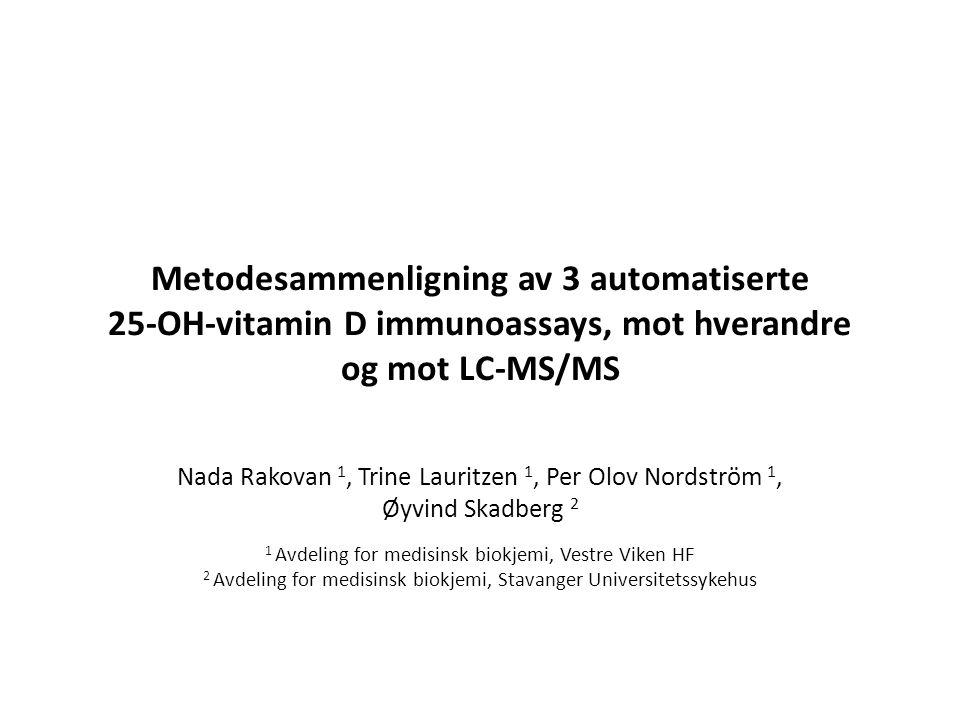 Metodesammenligning av 3 automatiserte 25-OH-vitamin D immunoassays, mot hverandre og mot LC-MS/MS Nada Rakovan 1, Trine Lauritzen 1, Per Olov Nordstr