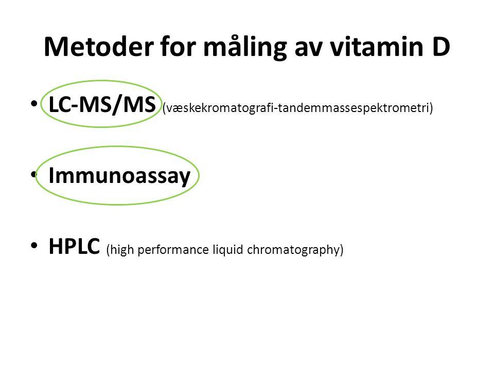 Metoder for måling av vitamin D LC-MS/MS (væskekromatografi-tandemmassespektrometri) Immunoassay HPLC (high performance liquid chromatography)