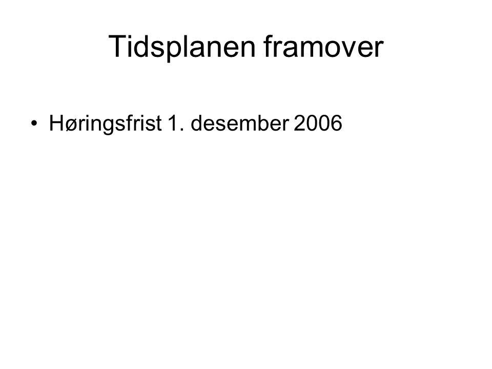 Tidsplanen framover Høringsfrist 1. desember 2006