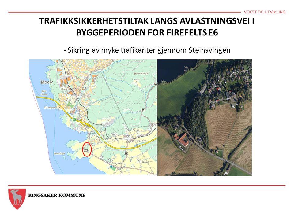 TRAFIKKSIKKERHETSTILTAK LANGS AVLASTNINGSVEI I BYGGEPERIODEN FOR FIREFELTS E6 - Sikring av myke trafikanter gjennom Steinsvingen