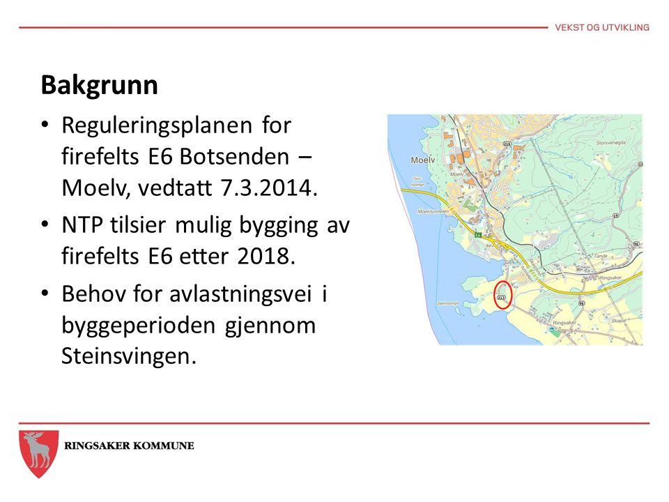 Bakgrunn Reguleringsplanen for firefelts E6 Botsenden – Moelv, vedtatt 7.3.2014. NTP tilsier mulig bygging av firefelts E6 etter 2018. Behov for avlas