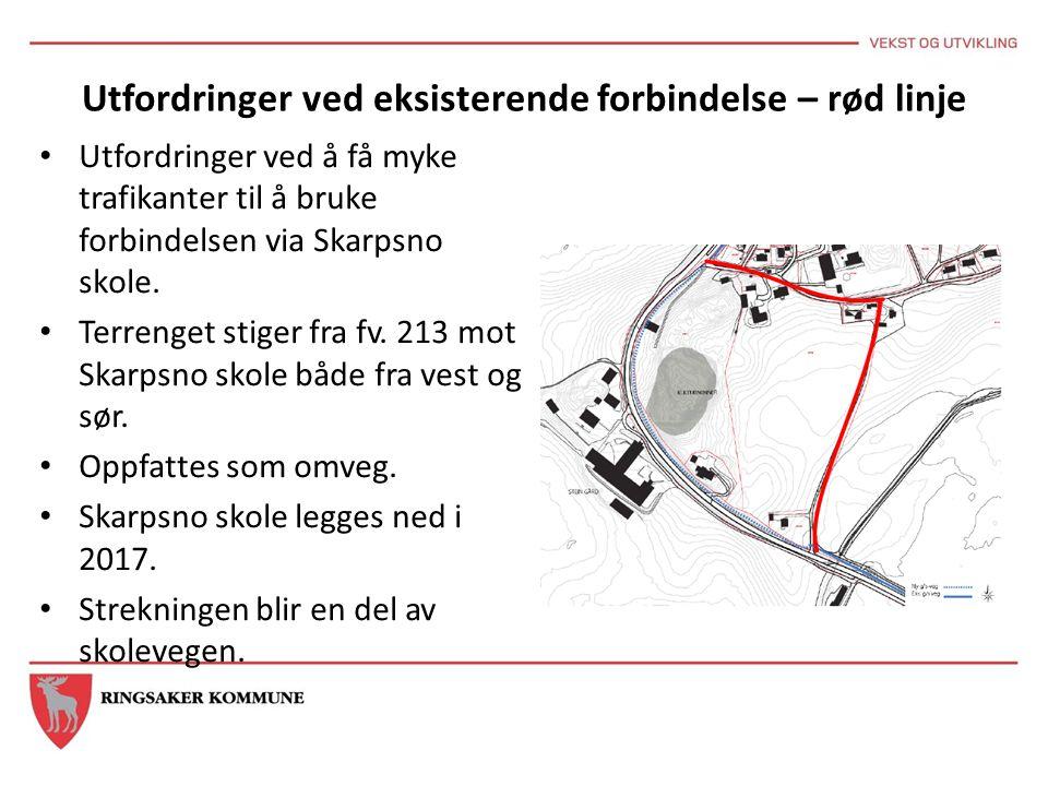 Utfordringer ved eksisterende forbindelse – rød linje Utfordringer ved å få myke trafikanter til å bruke forbindelsen via Skarpsno skole. Terrenget st