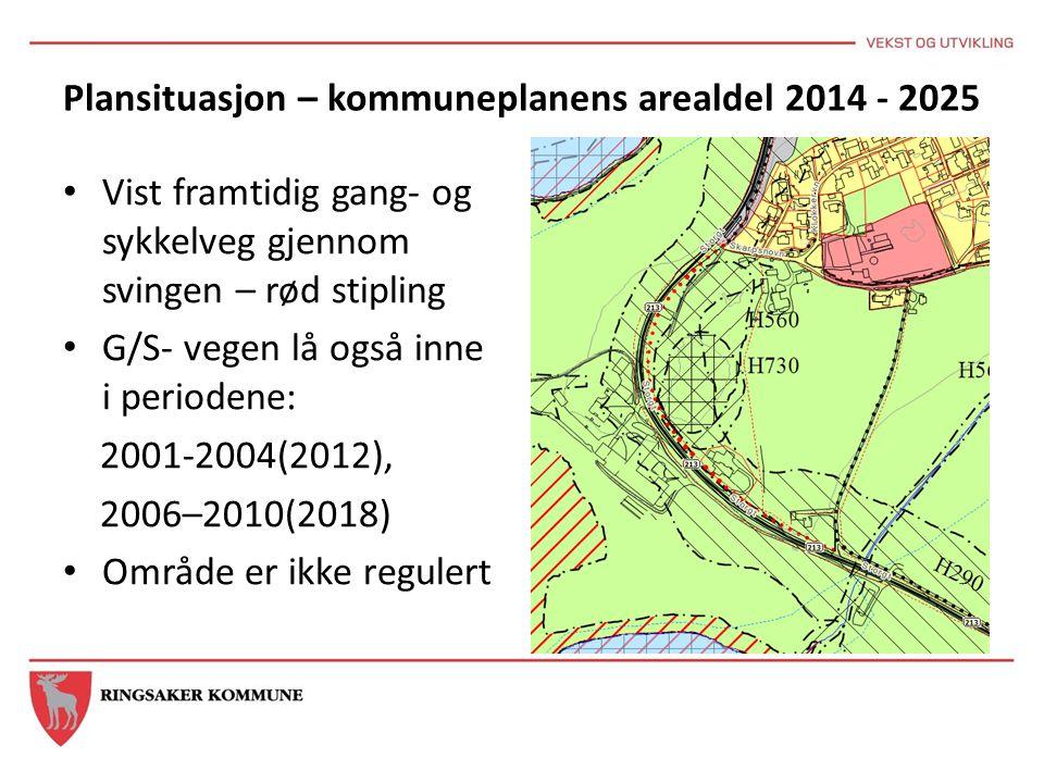 Plansituasjon – kommuneplanens arealdel 2014 - 2025 Vist framtidig gang- og sykkelveg gjennom svingen – rød stipling G/S- vegen lå også inne i periode