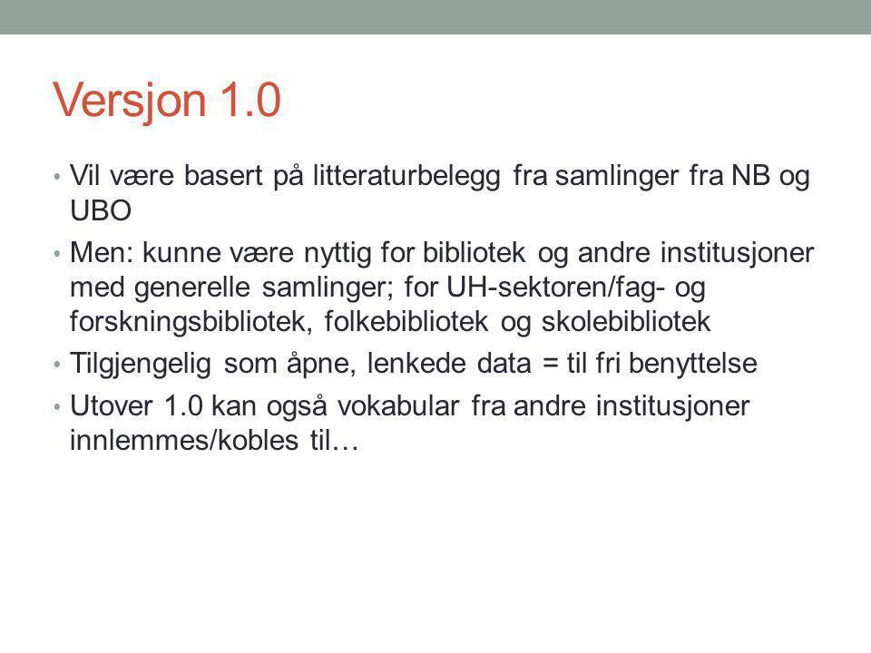 Versjon 1.0 Vil være basert på litteraturbelegg fra samlinger fra NB og UBO Men: kunne være nyttig for bibliotek og andre institusjoner med generelle