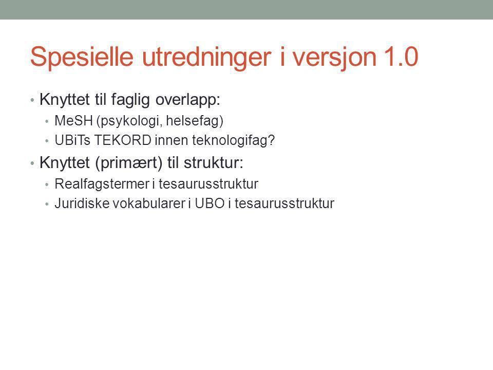 Spesielle utredninger i versjon 1.0 Knyttet til faglig overlapp: MeSH (psykologi, helsefag) UBiTs TEKORD innen teknologifag? Knyttet (primært) til str