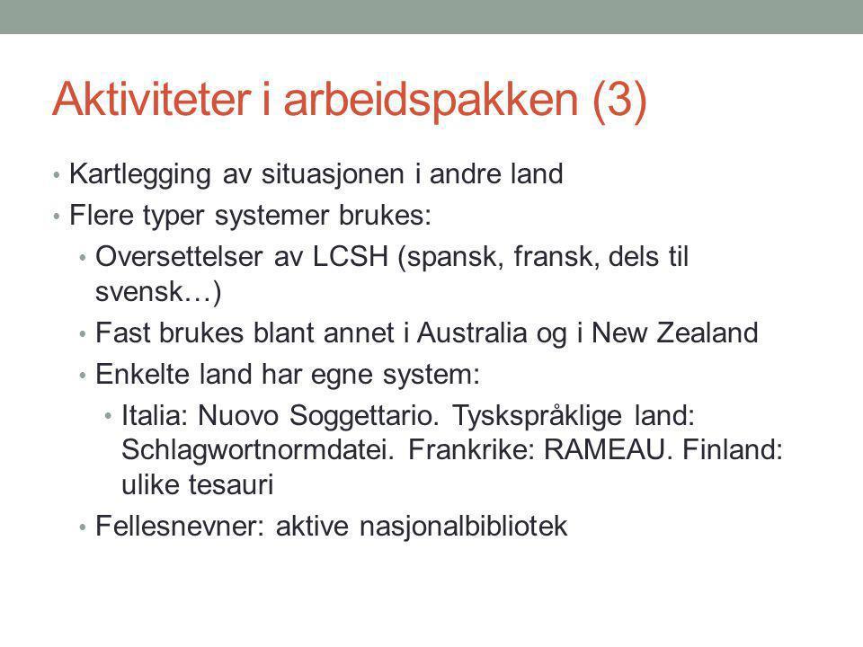 Aktiviteter i arbeidspakken (3) Kartlegging av situasjonen i andre land Flere typer systemer brukes: Oversettelser av LCSH (spansk, fransk, dels til s