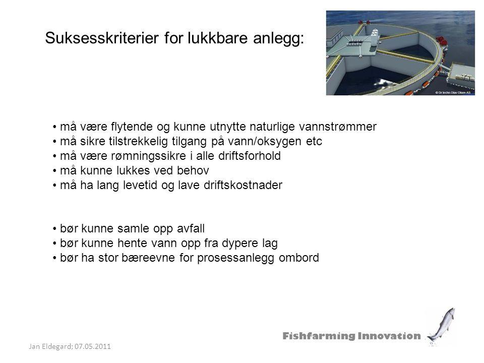Fishfarming Innovation Jan Eldegard; 07.05.2011 Suksesskriterier for lukkbare anlegg: må være flytende og kunne utnytte naturlige vannstrømmer må sikr