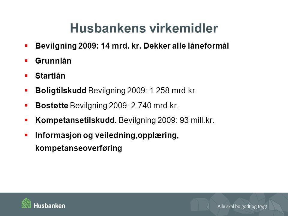 Husbankens virkemidler  Bevilgning 2009: 14 mrd. kr. Dekker alle låneformål  Grunnlån  Startlån  Boligtilskudd Bevilgning 2009: 1 258 mrd.kr.  Bo
