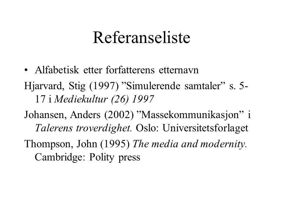 Referanseliste Alfabetisk etter forfatterens etternavn Hjarvard, Stig (1997) Simulerende samtaler s.