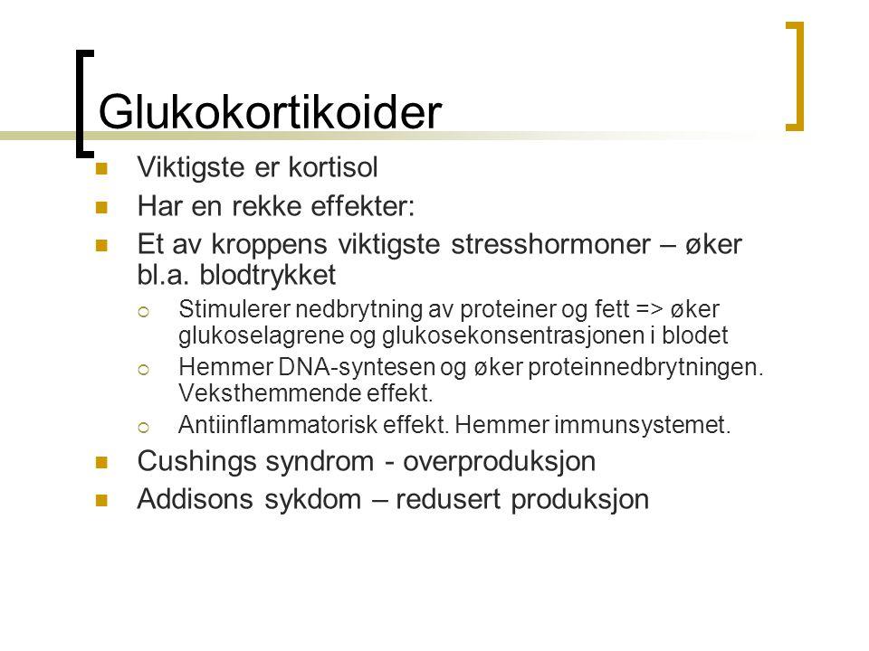 Glukokortikoider Viktigste er kortisol Har en rekke effekter: Et av kroppens viktigste stresshormoner – øker bl.a. blodtrykket  Stimulerer nedbrytnin