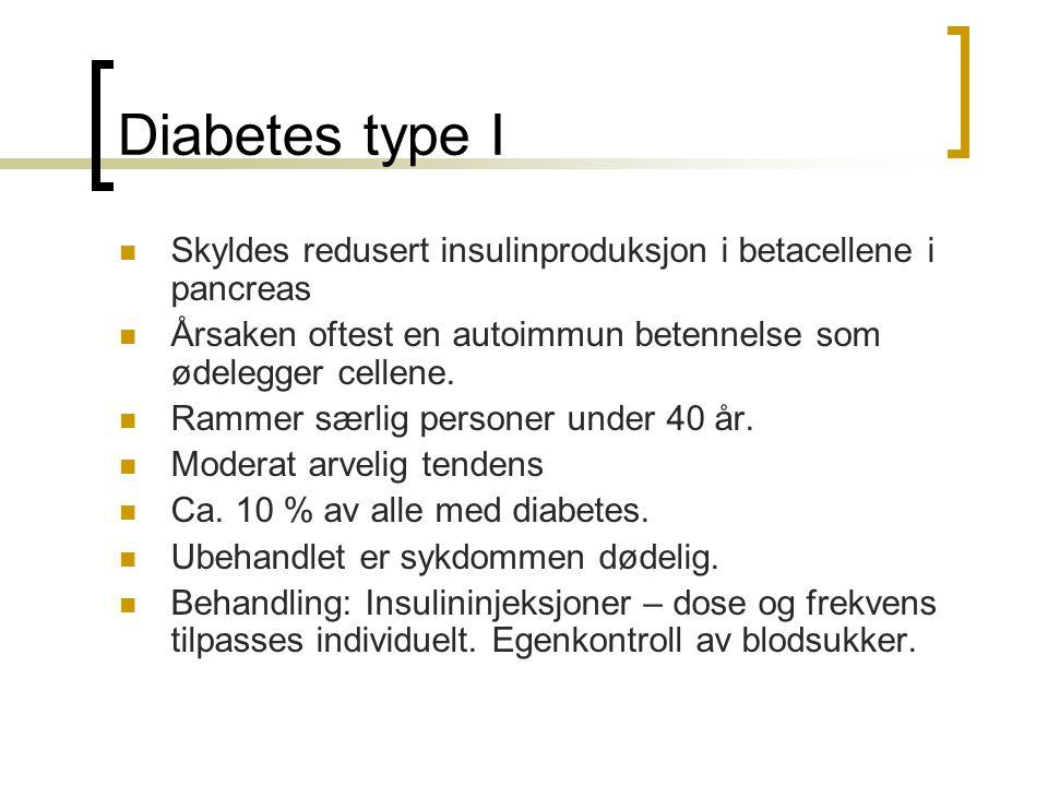 Diabetes type I Skyldes redusert insulinproduksjon i betacellene i pancreas Årsaken oftest en autoimmun betennelse som ødelegger cellene. Rammer særli