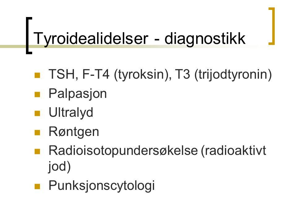 Tyroidealidelser - diagnostikk TSH, F-T4 (tyroksin), T3 (trijodtyronin) Palpasjon Ultralyd Røntgen Radioisotopundersøkelse (radioaktivt jod) Punksjons