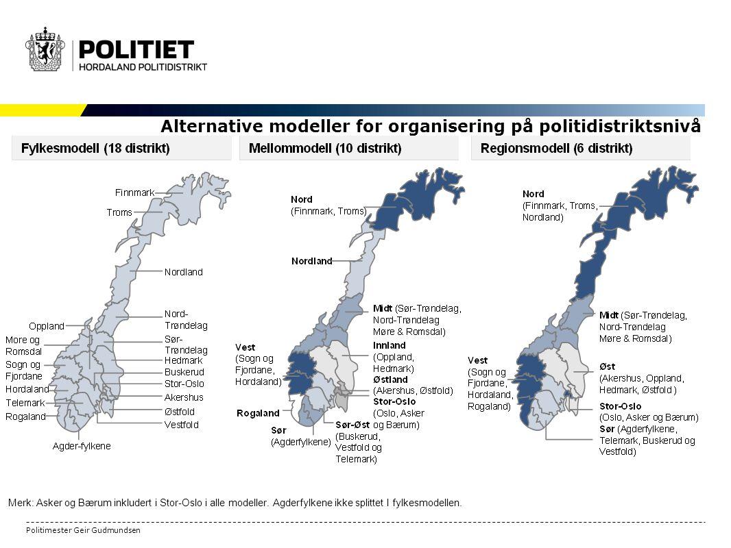 Politimester Geir Gudmundsen Merk: Asker og Bærum inkludert i Stor-Oslo i alle modeller.