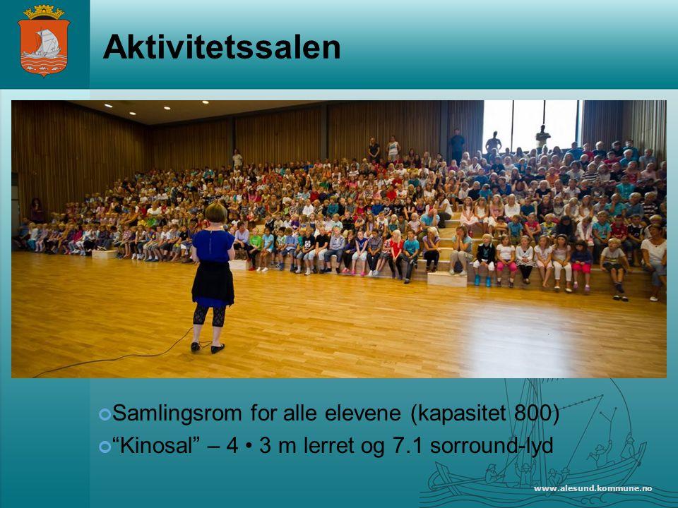 www.alesund.kommune.no Aktivitetssalen Samlingsrom for alle elevene (kapasitet 800) Kinosal – 4 3 m lerret og 7.1 sorround-lyd