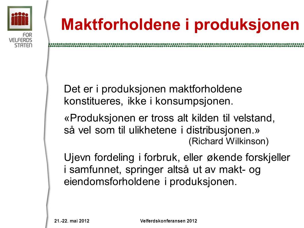 Maktforholdene i produksjonen Det er i produksjonen maktforholdene konstitueres, ikke i konsumpsjonen.