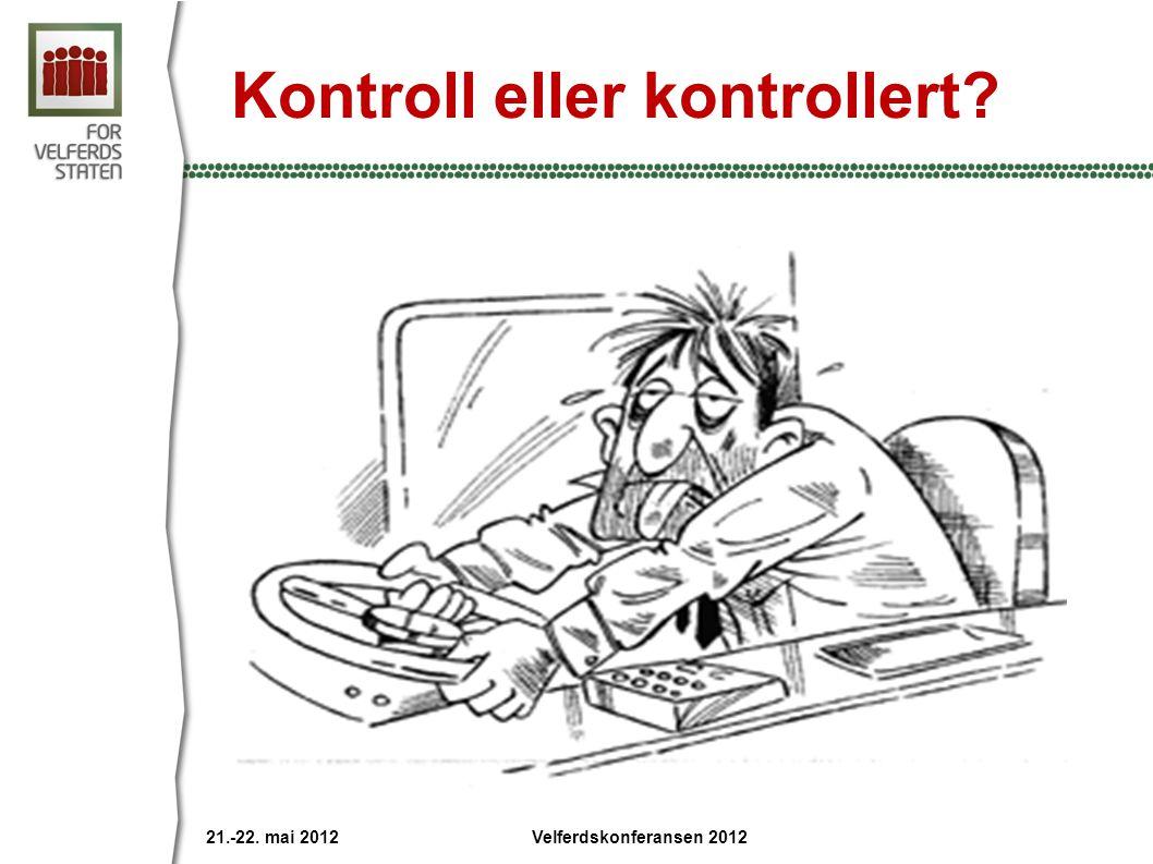 Kontroll eller kontrollert? 21.-22. mai 2012 Velferdskonferansen 2012