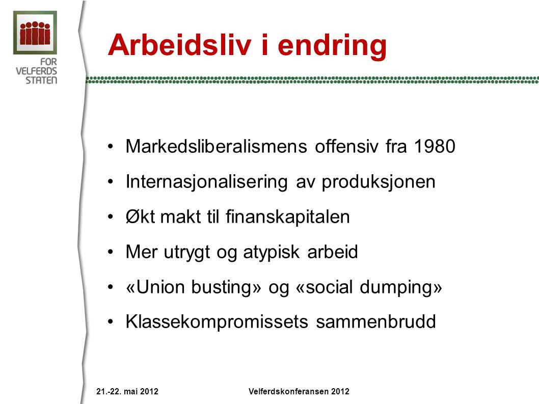 Arbeidsliv i endring Markedsliberalismens offensiv fra 1980 Internasjonalisering av produksjonen Økt makt til finanskapitalen Mer utrygt og atypisk arbeid «Union busting» og «social dumping» Klassekompromissets sammenbrudd 21.-22.