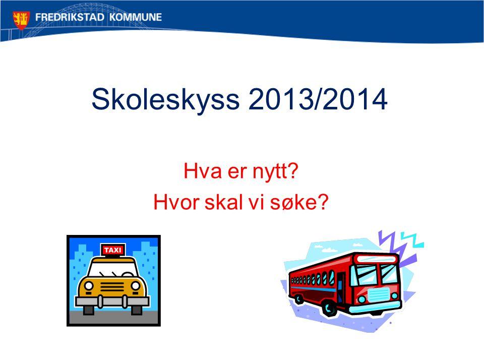 Skoleskyss 2013/2014 Hva er nytt? Hvor skal vi søke?