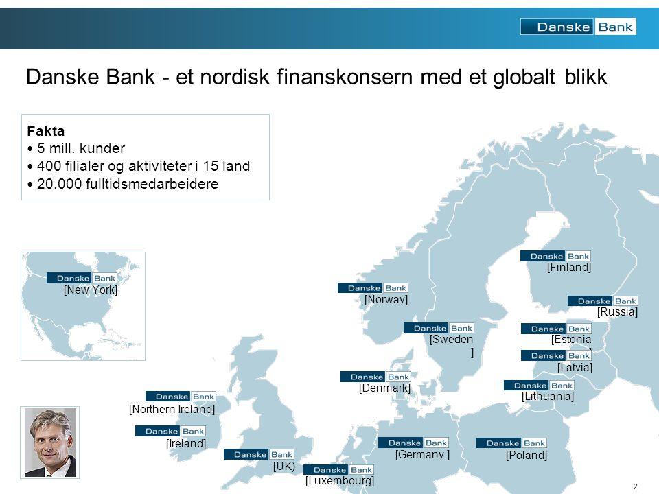 3 Fokus Bank blir en del av Danske Bank 185919871999 Danske Bank etablerer seg i Norge 1997 Sammenslåing fører til Fokus Bank Privatbanken etableres i Trondheim Danske Bank har vokst betydelig i Norge de siste 15 årene 2012 Hele Danske Bank samles under ett navn
