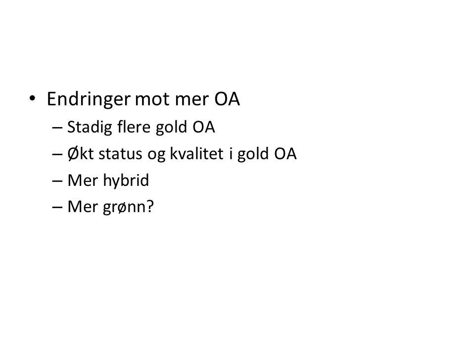 Endringer mot mer OA – Stadig flere gold OA – Økt status og kvalitet i gold OA – Mer hybrid – Mer grønn