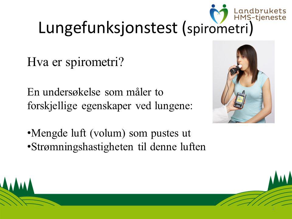Lungefunksjonstest ( spirometri ) 4 Hva er spirometri.