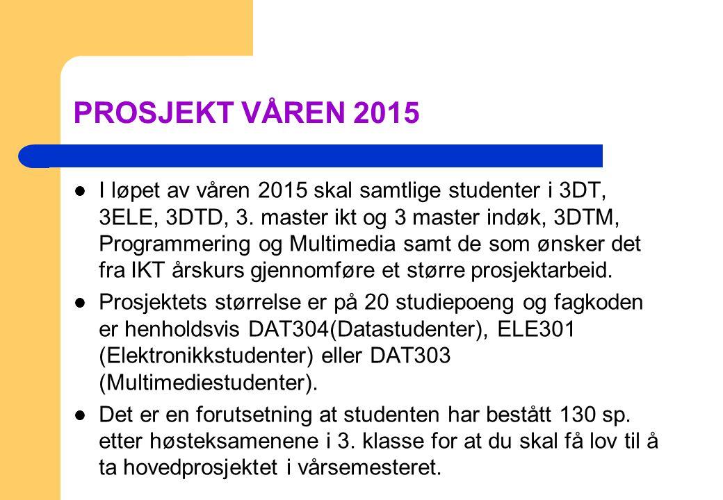 PROSJEKT VÅREN 2015 I løpet av våren 2015 skal samtlige studenter i 3DT, 3ELE, 3DTD, 3. master ikt og 3 master indøk, 3DTM, Programmering og Multimedi