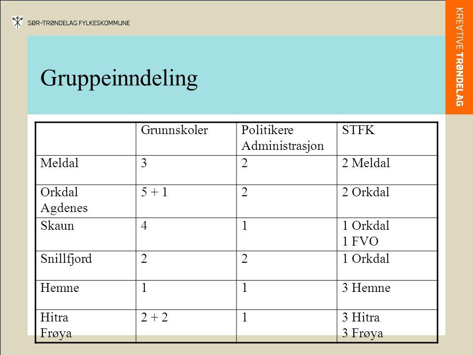 Gruppeinndeling GrunnskolerPolitikere Administrasjon STFK Meldal322 Meldal Orkdal Agdenes 5 + 122 Orkdal Skaun411 Orkdal 1 FVO Snillfjord221 Orkdal Hemne113 Hemne Hitra Frøya 2 + 213 Hitra 3 Frøya