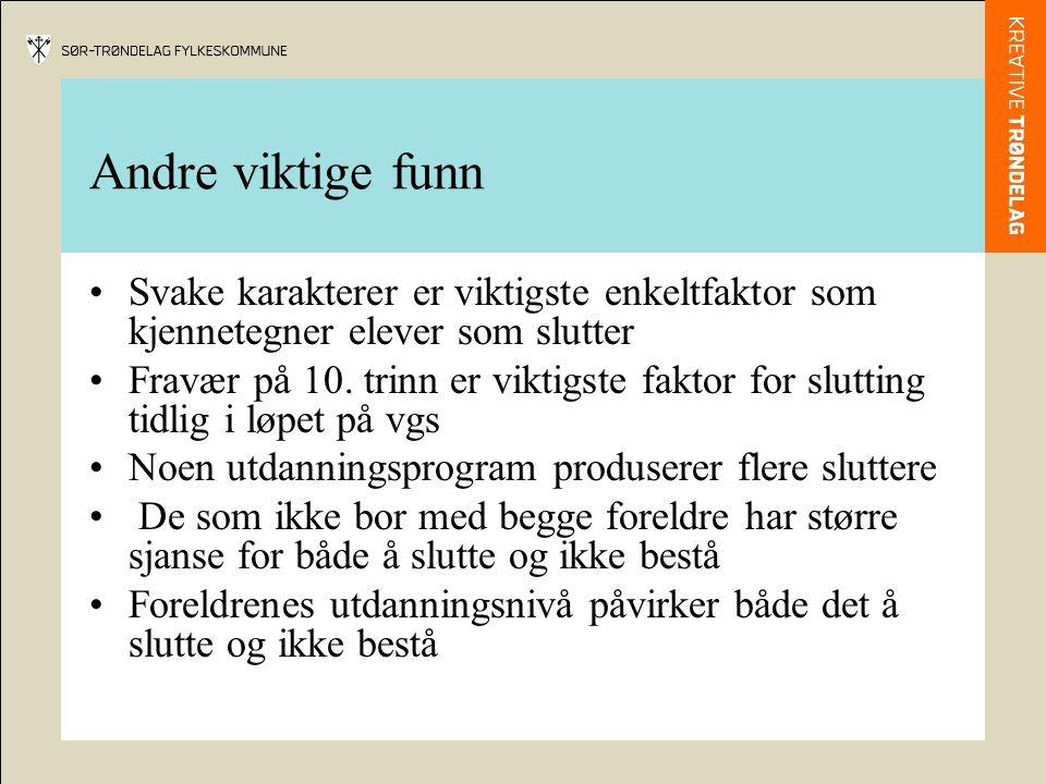 Andre viktige funn Svake karakterer er viktigste enkeltfaktor som kjennetegner elever som slutter Fravær på 10.