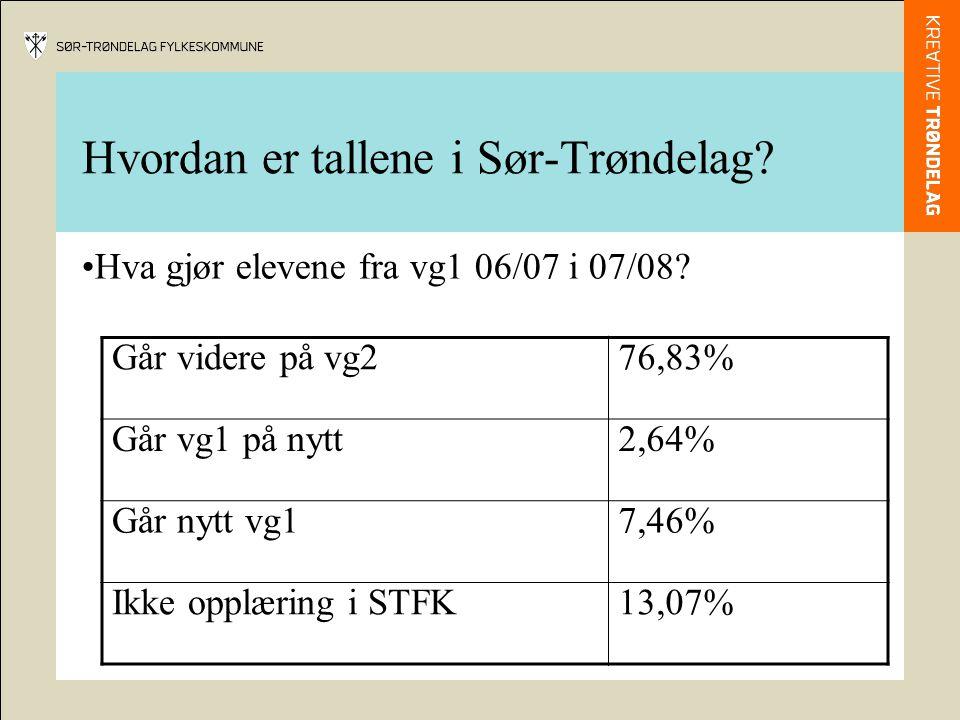 Hvordan er tallene i Sør-Trøndelag. Hva gjør elevene fra vg1 06/07 i 07/08.