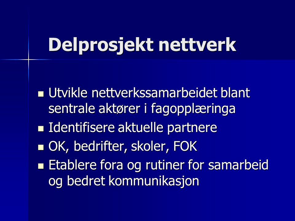 Delprosjekt nettverk Delprosjekt nettverk Utvikle nettverkssamarbeidet blant sentrale aktører i fagopplæringa Utvikle nettverkssamarbeidet blant sentrale aktører i fagopplæringa Identifisere aktuelle partnere Identifisere aktuelle partnere OK, bedrifter, skoler, FOK OK, bedrifter, skoler, FOK Etablere fora og rutiner for samarbeid og bedret kommunikasjon Etablere fora og rutiner for samarbeid og bedret kommunikasjon