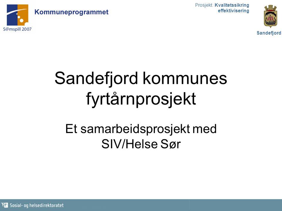 Prosjekt: Kvalitetssikring effektivisering Sandefjord Sandefjord kommunes fyrtårnprosjekt Et samarbeidsprosjekt med SIV/Helse Sør